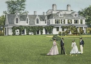 Nathaniel Ray Thomas House, Marshfield, aka the Daniel Webster Estate. A 1909 postcard depicting the estate as it appeared in 1859.