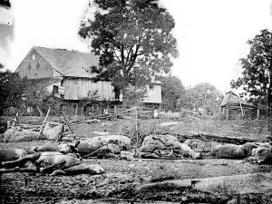 Wreckage of the 9th Mass Battery at the Trostle Farm shortly after the fight.