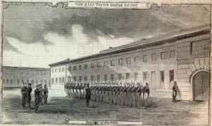 The parade ground of Fort Warren in Boston Harbor from