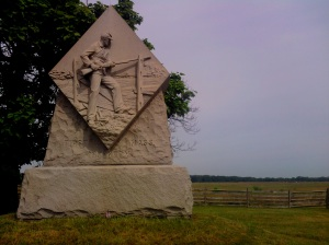 The 1st Massachusetts Infantry monument is on the west side of the Emmitsburg Road, just north of the intersection of Sickles Ave.