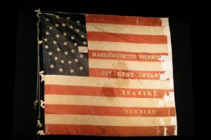 Colors of the 21st Massachusetts Infantry, still bearing the stains of Sgt. Plunkett's blood