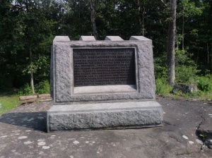 The 2nd Massachusetts monument is located near Spangler's Spring on Colgrove Ave. It has the distinction of being the first regimental monument ever placed on the battlefield in 1879.[1]
