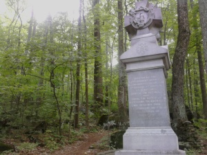 The monument to the 9th Massachusetts Infantry is located on the north slope of Big Round Top off of South Confederate Ave. It was placed in 1885.