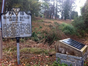 The site of Gaines's Mill today. I would bet somewhere in the briar and thicket, some bricks and stones remain, but it is private property with houses hard by and I did not dare venture to look.