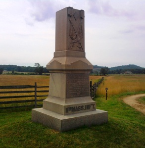 The 11th Massachusetts monument at Gettysburg in 2011, prior to the vadalism repairs. It was placed in 1885 at the junction of the Emmitsburg Road and Sickles Avenue.
