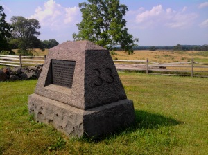 The 33rd Massachusetts Infantry monument is located at the intersection of Slocum and Wainwright Avenues near Steven's Knoll. It was placed in 1885.