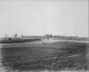 Section of the Emmitsburg Road (in the distance) occupied by Humphrey's division as it appeared in 1896. The Klingle Barn is at center. The position of the 11th Massachusetts is slightly further north, off to the right of this photo.