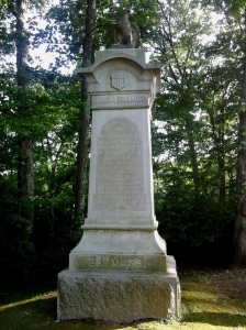 The monument of the 28th Massachusetts was placed in 1885 and is located along Sickles Avenue in the Rose Woods.