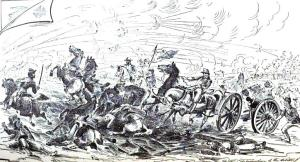 The 9th Massachusetts Battery deploys under fire