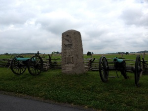 The 9th Massachusetts Battery monument on the Wheatfield Road near the Peach Orchard marks their first position during the battle on July 2.
