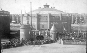 The Cyclorama Building in Boston as originally constructed in 1884