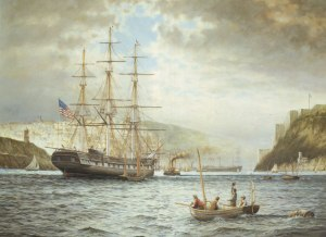 USS Jamestown arriving in Cobh by artist Rodney Charman