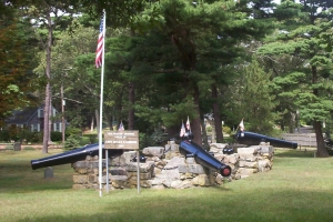 Monument over Myles Standish's grave in Duxbury's Old Burying Ground