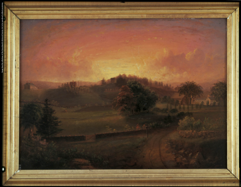 A view of Brook Farm by Josiah Wolcott, c. 1844. From left to right the buildings are Pilgrim House, the Cottage, the Aerie, and the Hive. Collections of the Massachusetts Historical Society