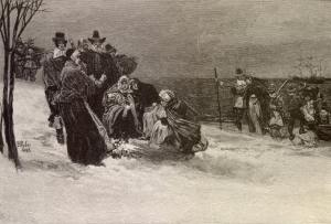 """The Landing of the Pilgrims"" by Howard Pyle from ""Harpers Weekly"" 1882. Pyle is one of my favorite artists and, contrary to the other fanciful depictions of his time, compelling depicts what must have been a desperate landing."