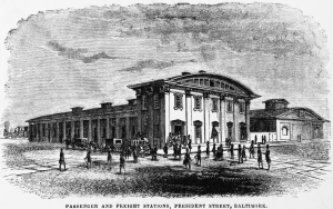 The President Street Depot, Baltimore. The front building still stands and is now the Baltimore Civil War Museum.