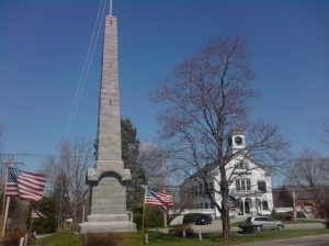 The monument for which Woodbury so ardently argued is today known as the Isaac Davis monument. The remains of Davis, Hayward and Hosmer were re-interred here in 1851.