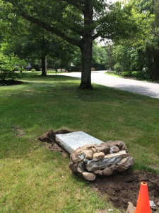 If one were superstitious, this fallen marker in Duxbury would be cause for alarm